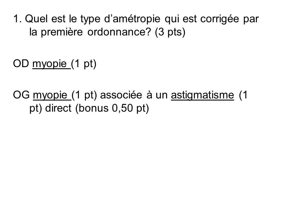 1. Quel est le type damétropie qui est corrigée par la première ordonnance? (3 pts) OD myopie (1 pt) OG myopie (1 pt) associée à un astigmatisme (1 pt