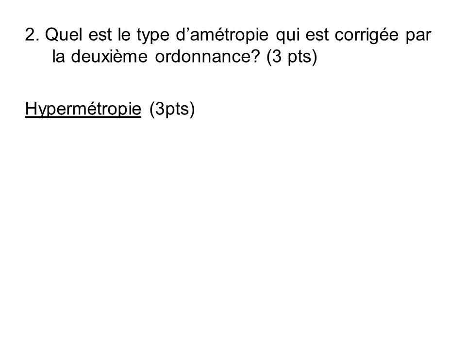 2. Quel est le type damétropie qui est corrigée par la deuxième ordonnance? (3 pts) Hypermétropie (3pts)