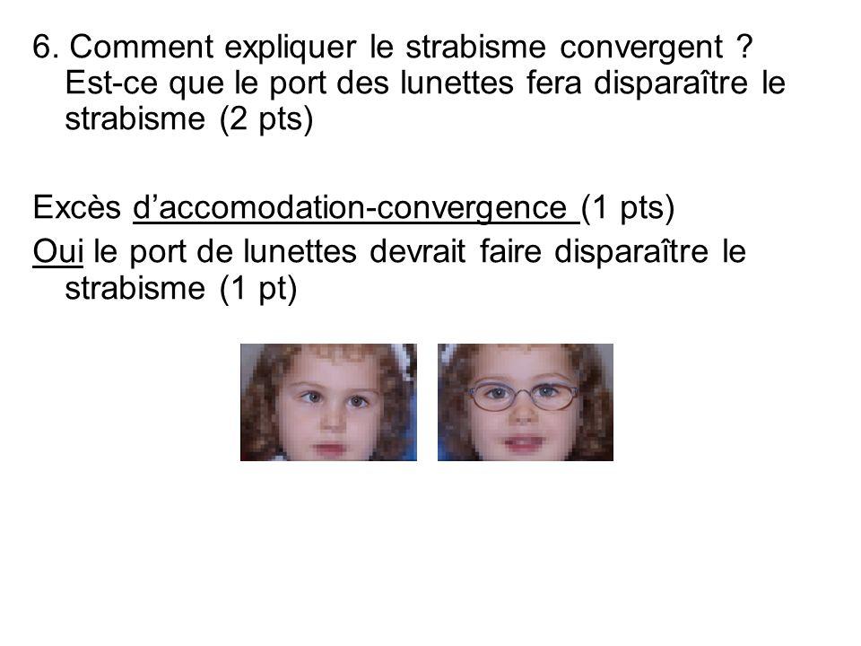 6. Comment expliquer le strabisme convergent ? Est-ce que le port des lunettes fera disparaître le strabisme (2 pts) Excès daccomodation-convergence (