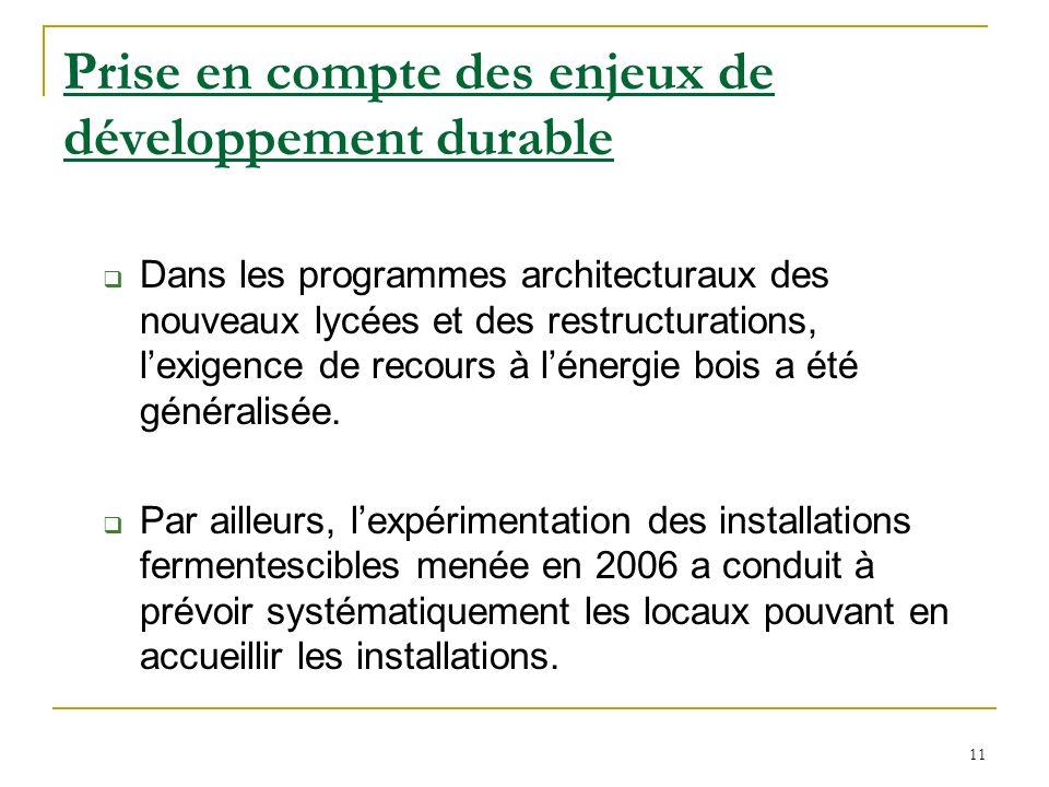 11 Prise en compte des enjeux de développement durable Dans les programmes architecturaux des nouveaux lycées et des restructurations, lexigence de recours à lénergie bois a été généralisée.