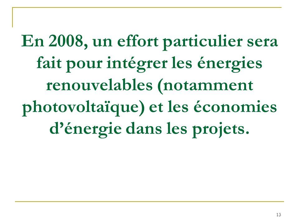 13 En 2008, un effort particulier sera fait pour intégrer les énergies renouvelables (notamment photovoltaïque) et les économies dénergie dans les projets.