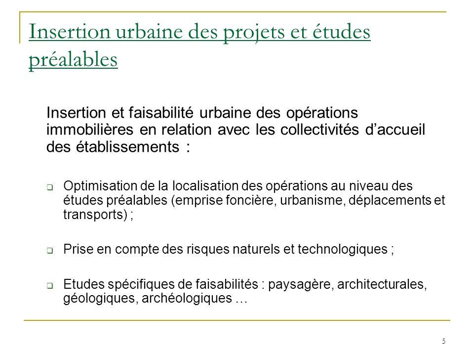 5 Insertion urbaine des projets et études préalables Insertion et faisabilité urbaine des opérations immobilières en relation avec les collectivités d