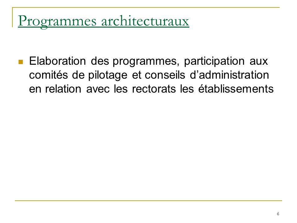 6 Programmes architecturaux Elaboration des programmes, participation aux comités de pilotage et conseils dadministration en relation avec les rectorats les établissements