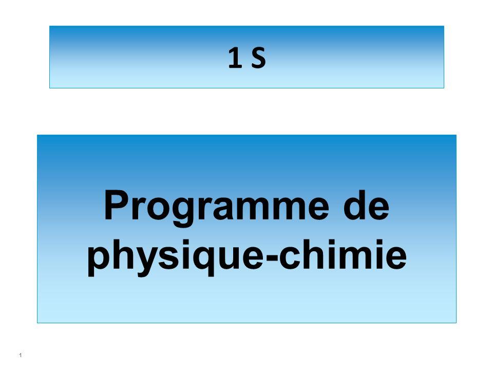1 S Programme de physique-chimie 1