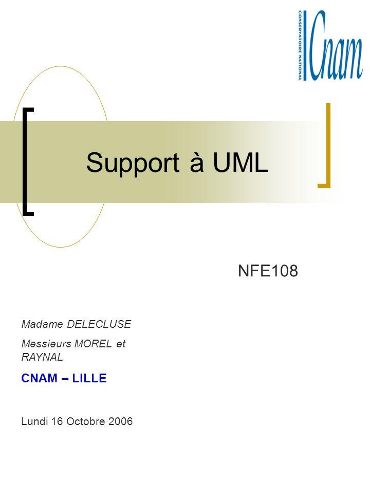 Support à UML NFE108 Madame DELECLUSE Messieurs MOREL et RAYNAL CNAM – LILLE Lundi 16 Octobre 2006