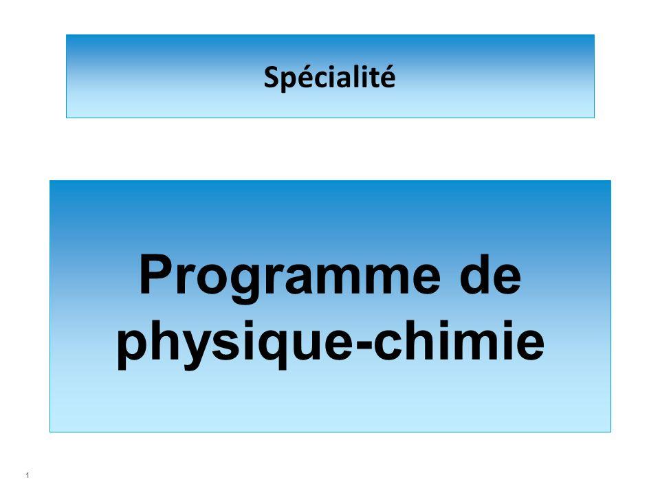Spécialité Programme de physique-chimie 1