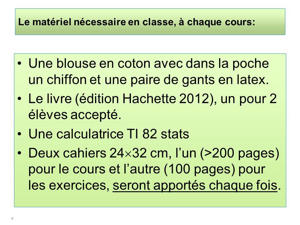 Le matériel nécessaire en classe, à chaque cours: Une blouse en coton avec dans la poche un chiffon et une paire de gants en latex. Le livre (édition