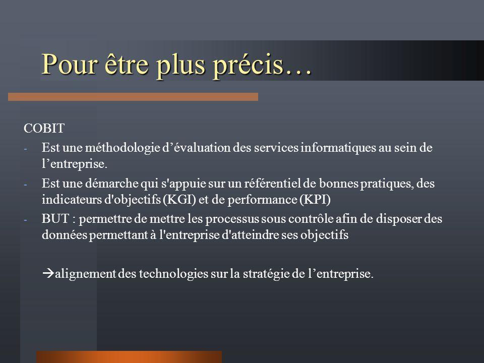 Pour être plus précis… COBIT - Est une méthodologie dévaluation des services informatiques au sein de lentreprise.