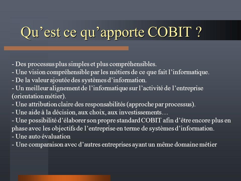 Quest ce quapporte COBIT ? - Des processus plus simples et plus compréhensibles. - Une vision compréhensible par les métiers de ce que fait linformati