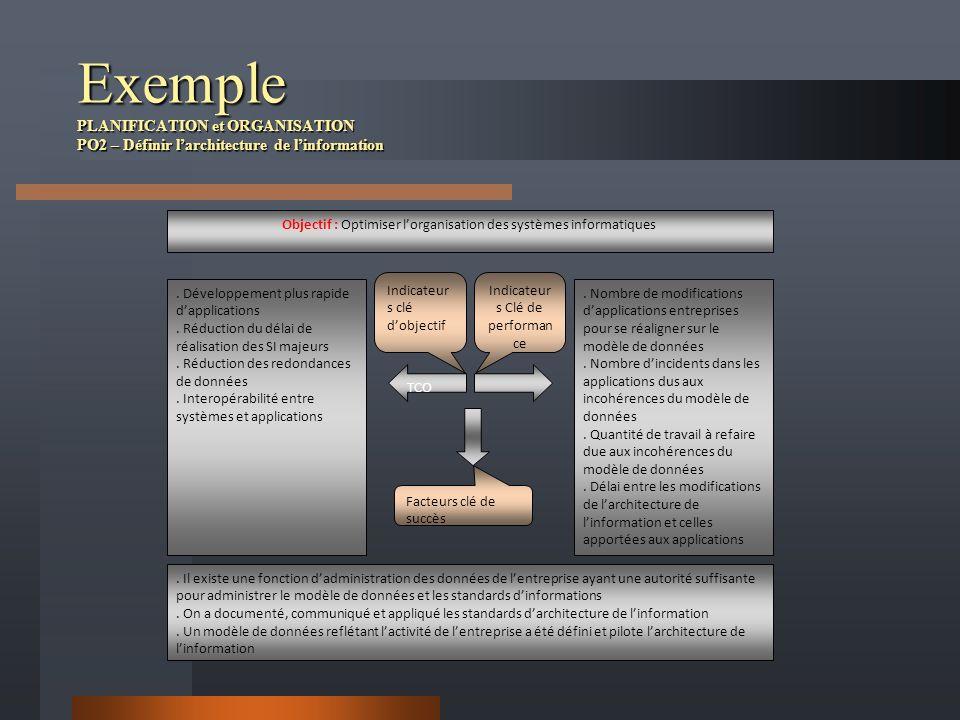 Exemple PLANIFICATION et ORGANISATION PO2 – Définir larchitecture de linformation Objectif : Optimiser lorganisation des systèmes informatiques. Dével