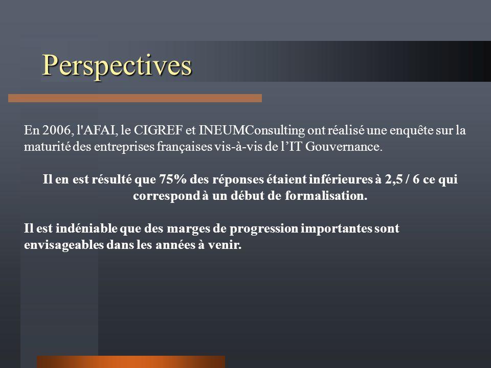 Perspectives En 2006, l AFAI, le CIGREF et INEUMConsulting ont réalisé une enquête sur la maturité des entreprises françaises vis-à-vis de lIT Gouvernance.