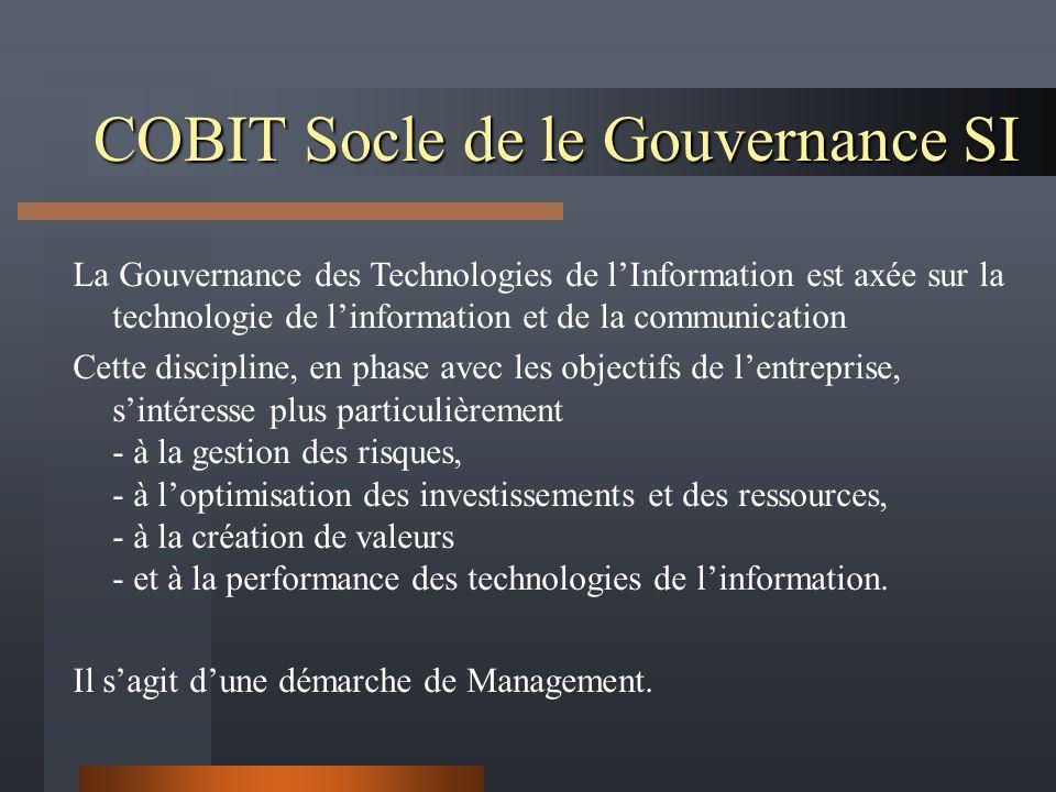 COBIT Socle de le Gouvernance SI La Gouvernance des Technologies de lInformation est axée sur la technologie de linformation et de la communication Cette discipline, en phase avec les objectifs de lentreprise, sintéresse plus particulièrement - à la gestion des risques, - à loptimisation des investissements et des ressources, - à la création de valeurs - et à la performance des technologies de linformation.