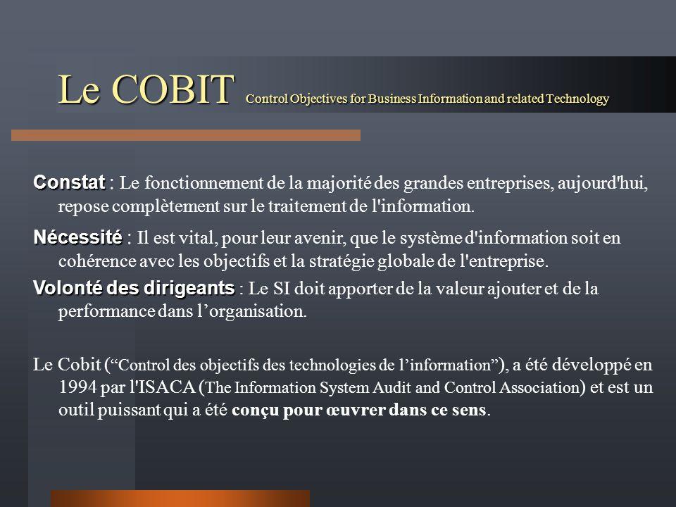 Le COBIT Control Objectives for Business Information and related Technology Constat Constat : Le fonctionnement de la majorité des grandes entreprises, aujourd hui, repose complètement sur le traitement de l information.