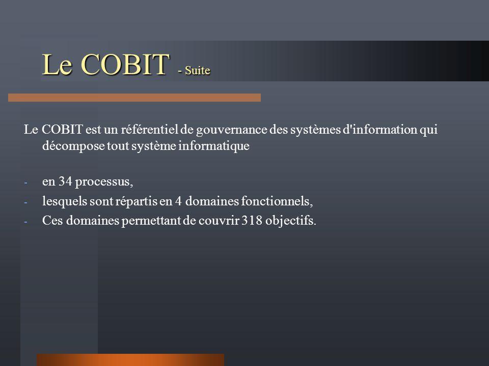 Le COBIT - Suite Le COBIT est un référentiel de gouvernance des systèmes d information qui décompose tout système informatique - en 34 processus, - lesquels sont répartis en 4 domaines fonctionnels, - Ces domaines permettant de couvrir 318 objectifs.