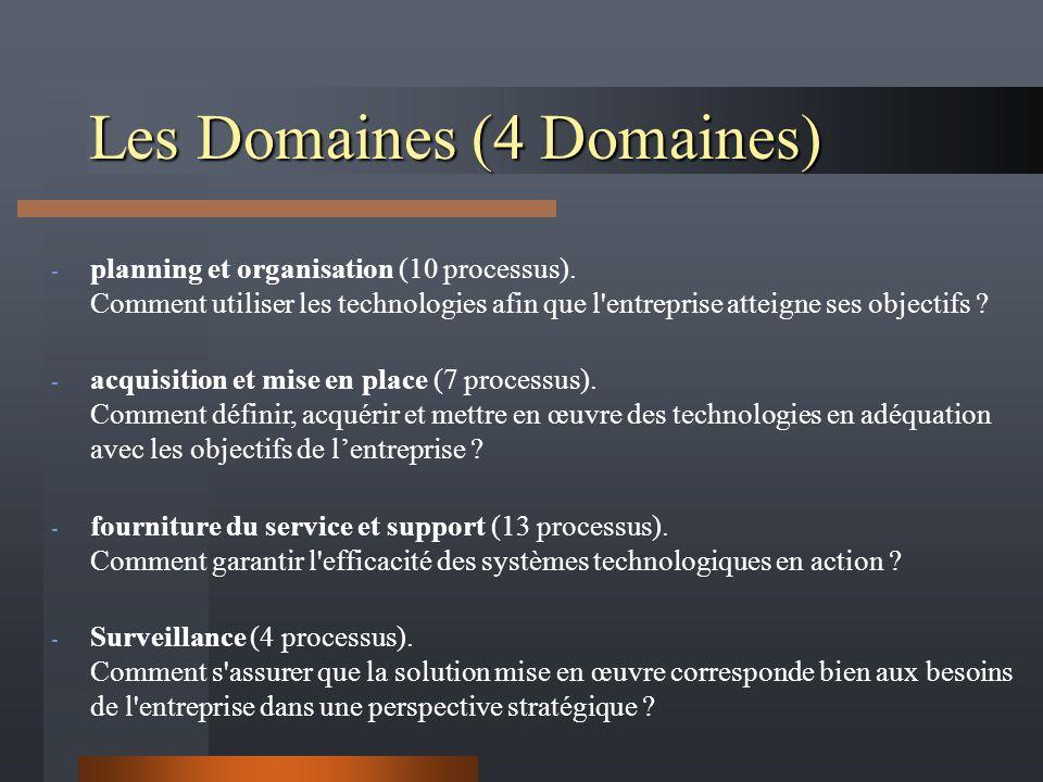 Les Domaines (4 Domaines) - planning et organisation (10 processus). Comment utiliser les technologies afin que l'entreprise atteigne ses objectifs ?