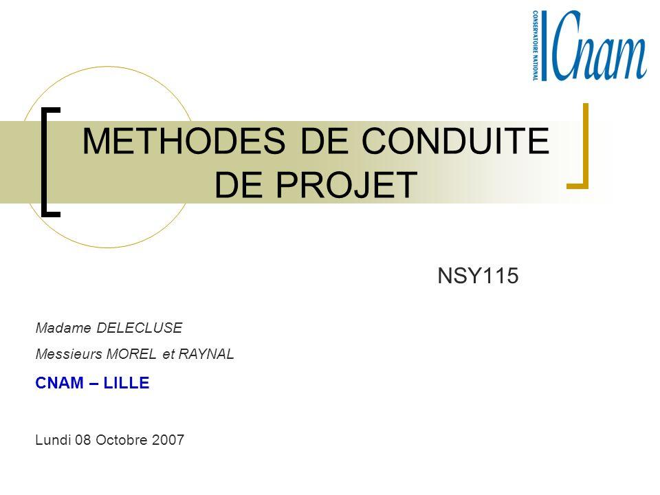 METHODES DE CONDUITE DE PROJET NSY115 Madame DELECLUSE Messieurs MOREL et RAYNAL CNAM – LILLE Lundi 08 Octobre 2007