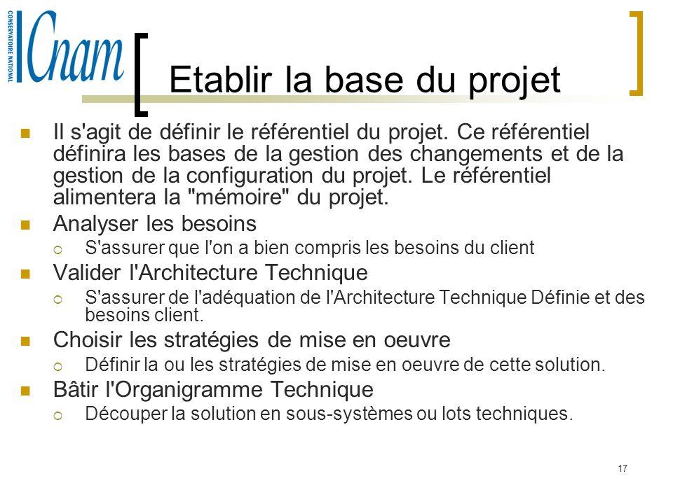 17 Etablir la base du projet Il s'agit de définir le référentiel du projet. Ce référentiel définira les bases de la gestion des changements et de la g