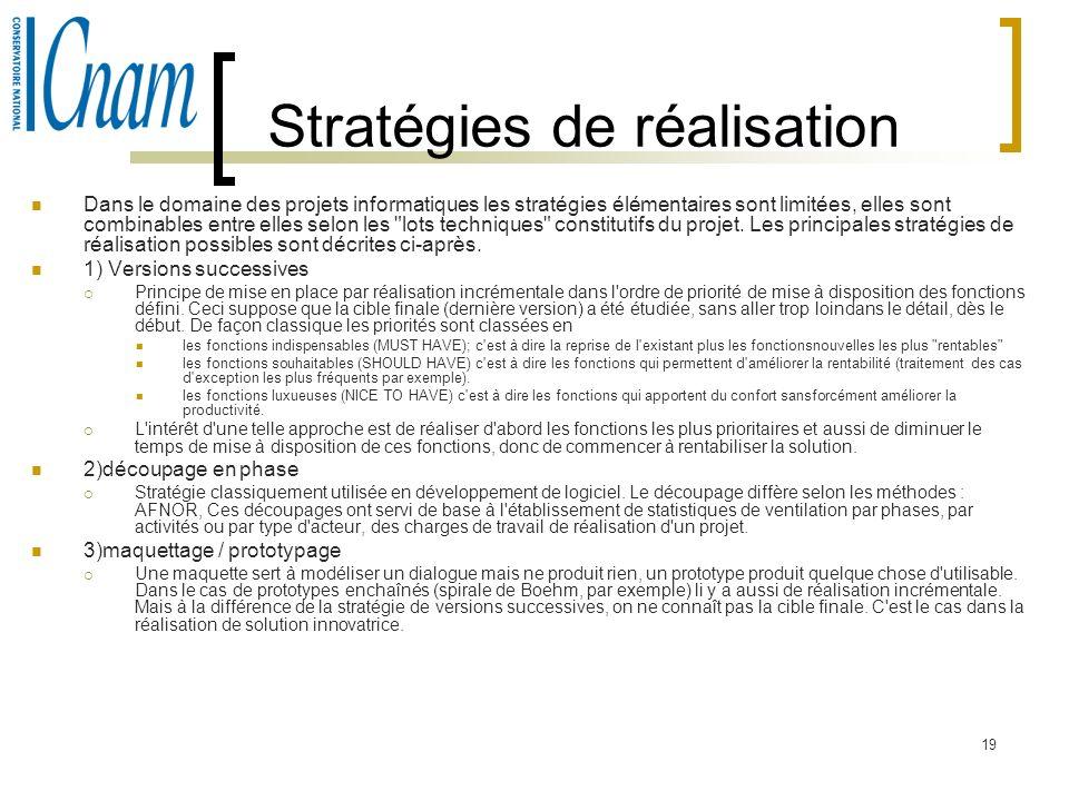 19 Stratégies de réalisation Dans le domaine des projets informatiques les stratégies élémentaires sont limitées, elles sont combinables entre elles s