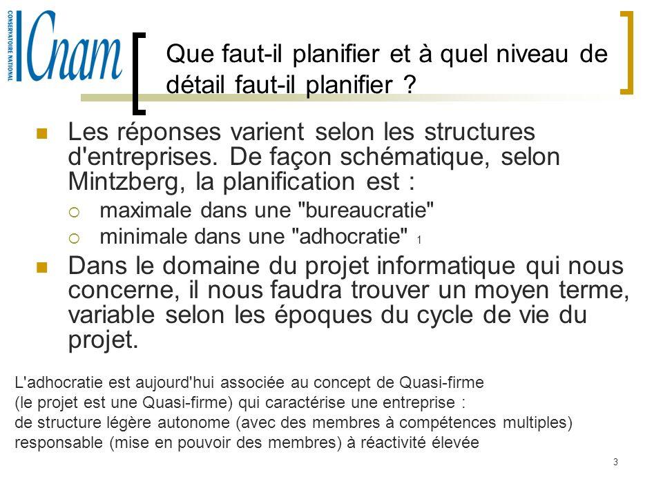 3 Que faut-il planifier et à quel niveau de détail faut-il planifier ? Les réponses varient selon les structures d'entreprises. De façon schématique,
