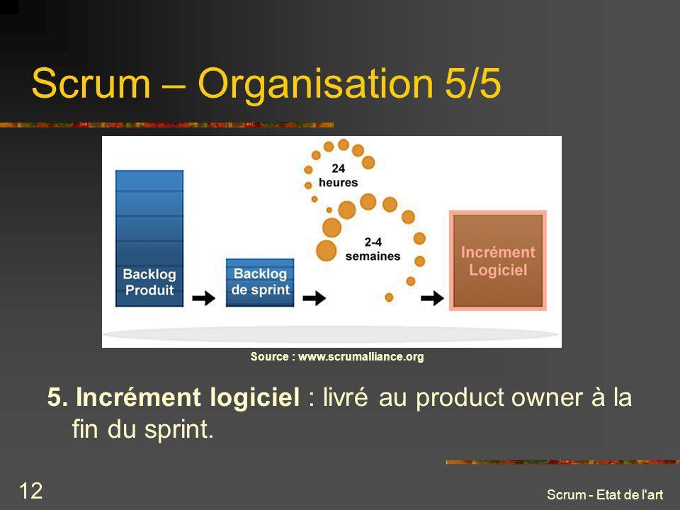 Scrum - Etat de l'art 12 Scrum – Organisation 5/5 Source : www.scrumalliance.org 5. Incrément logiciel : livré au product owner à la fin du sprint.
