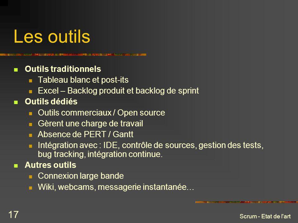 Scrum - Etat de l'art 17 Les outils Outils traditionnels Tableau blanc et post-its Excel – Backlog produit et backlog de sprint Outils dédiés Outils c