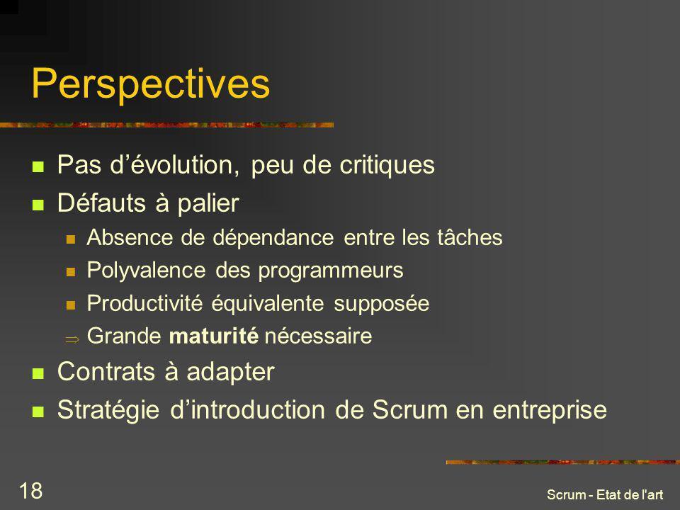Scrum - Etat de l'art 18 Perspectives Pas dévolution, peu de critiques Défauts à palier Absence de dépendance entre les tâches Polyvalence des program