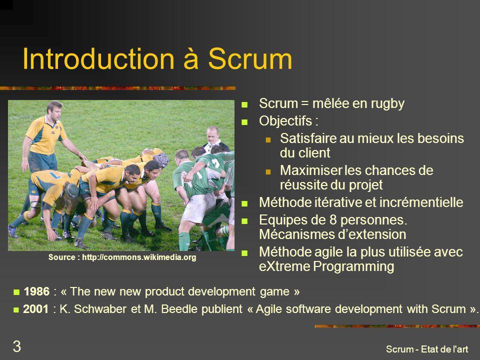 Scrum - Etat de l'art 3 Introduction à Scrum Scrum = mêlée en rugby Objectifs : Satisfaire au mieux les besoins du client Maximiser les chances de réu