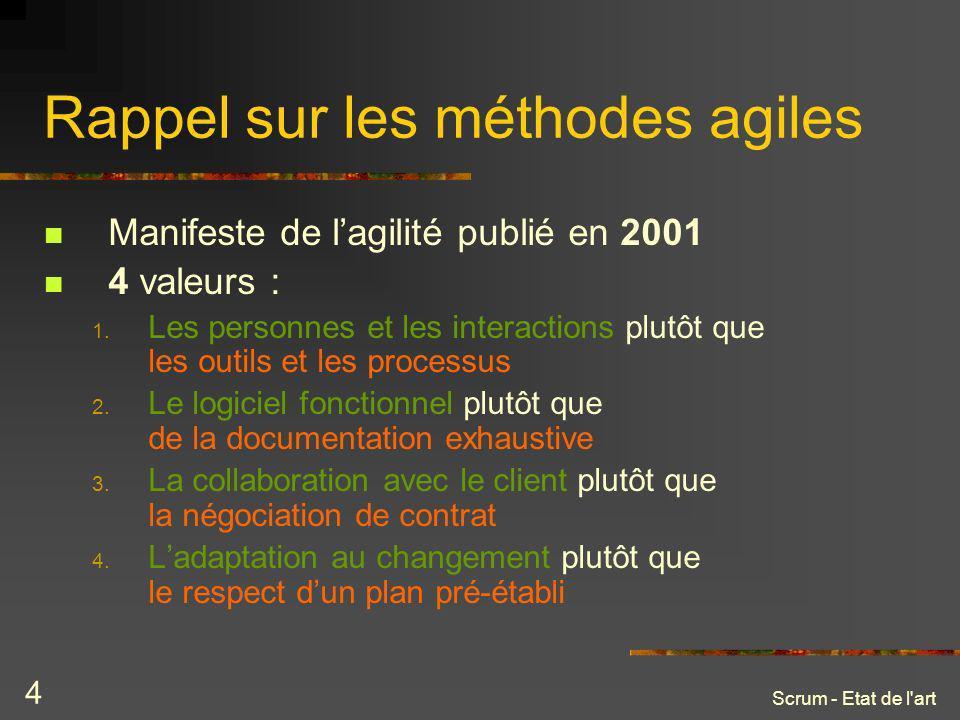 Scrum - Etat de l'art 4 Rappel sur les méthodes agiles Manifeste de lagilité publié en 2001 4 valeurs : 1. Les personnes et les interactions plutôt qu