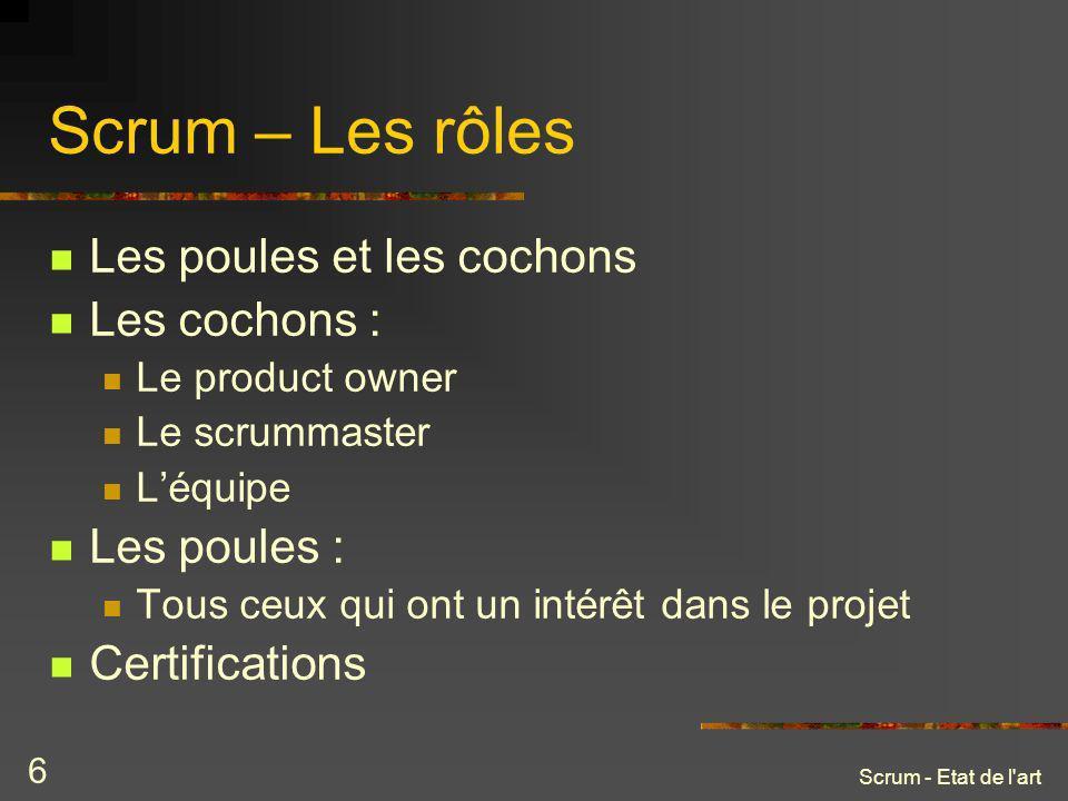 Scrum - Etat de l art 7 Scrum – Planifier un projet Constitution du backlog produit par le product owner.