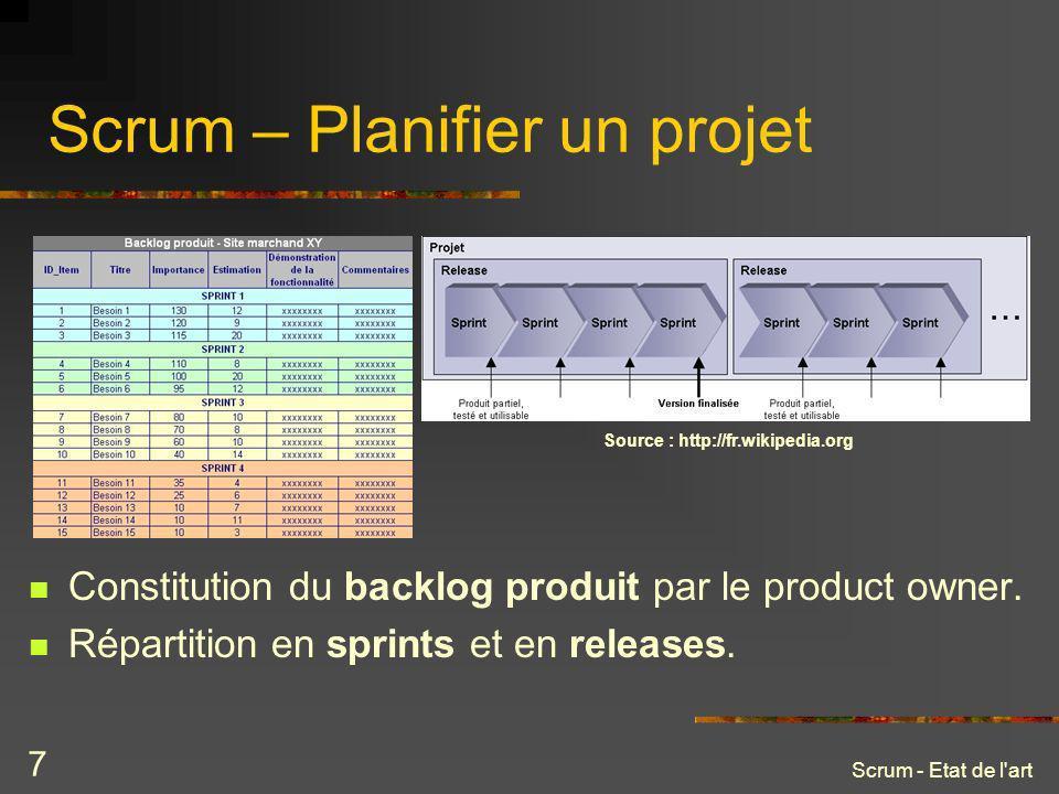 Scrum - Etat de l'art 7 Scrum – Planifier un projet Constitution du backlog produit par le product owner. Répartition en sprints et en releases. Sourc