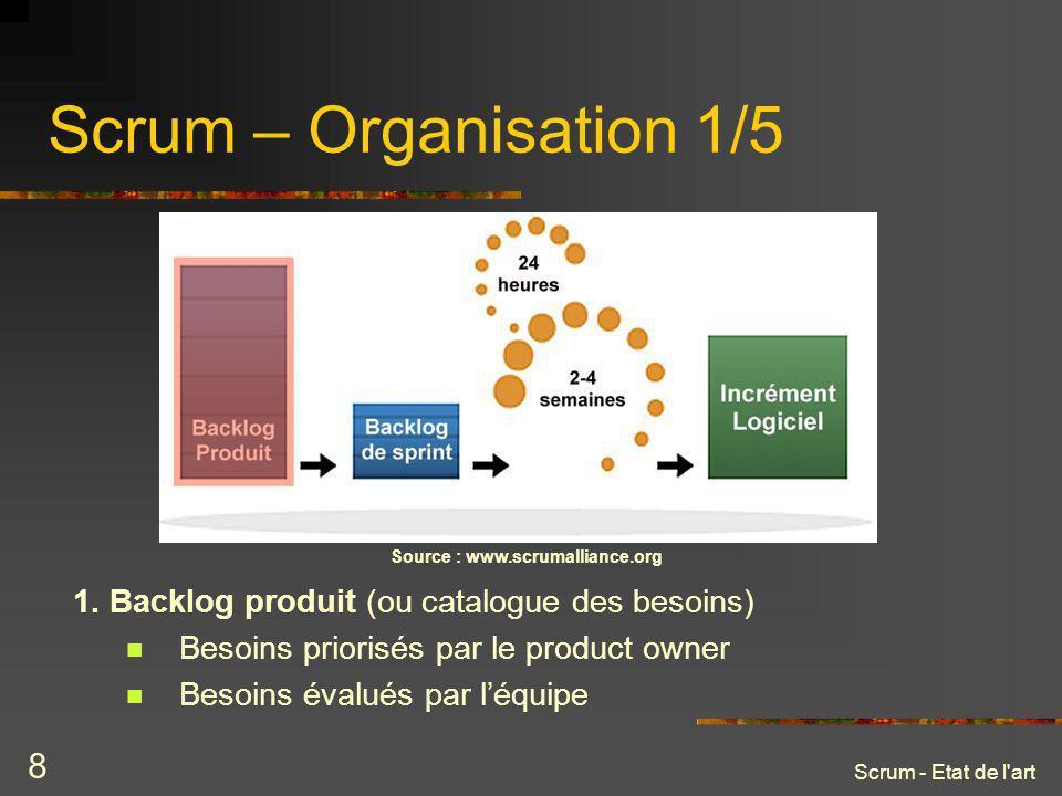 Scrum - Etat de l'art 8 Scrum – Organisation 1/5 Source : www.scrumalliance.org 1. Backlog produit (ou catalogue des besoins) Besoins priorisés par le