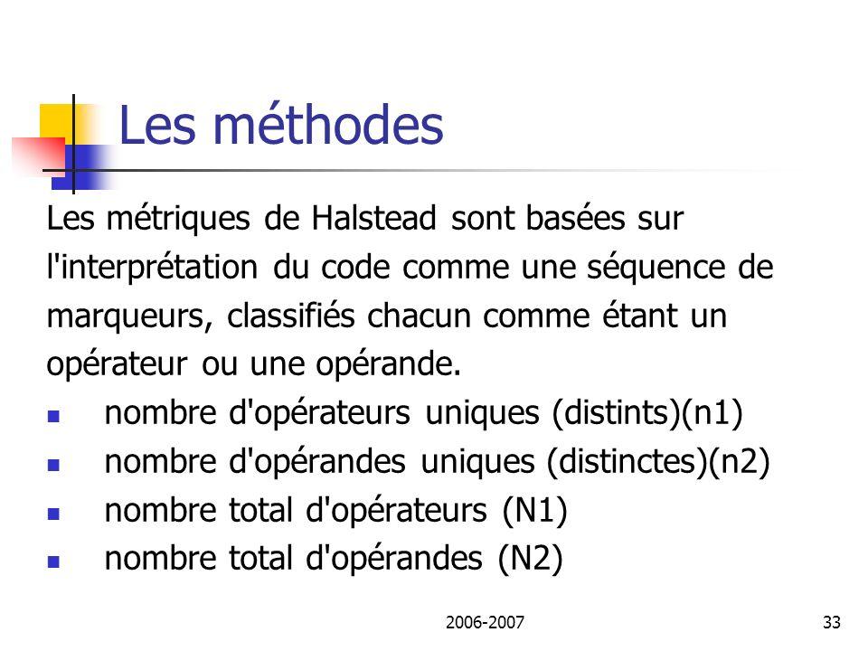 2006-200734 Les méthodes On peut obtenir: Longueur du programme (N) :N1+N2 Taille du vocabulaire (n) : n1+n2 Volume du programme (V) : V=N* Log2(n) Nbre de lignes de programme et de commentaire… Le niveau de difficulté (D) /de programme (L)…