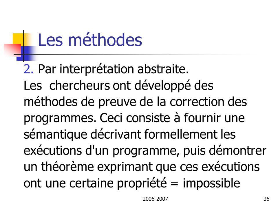2006-200737 Les méthodes L interprétation abstraite procède par approximation correcte de la sémantique.