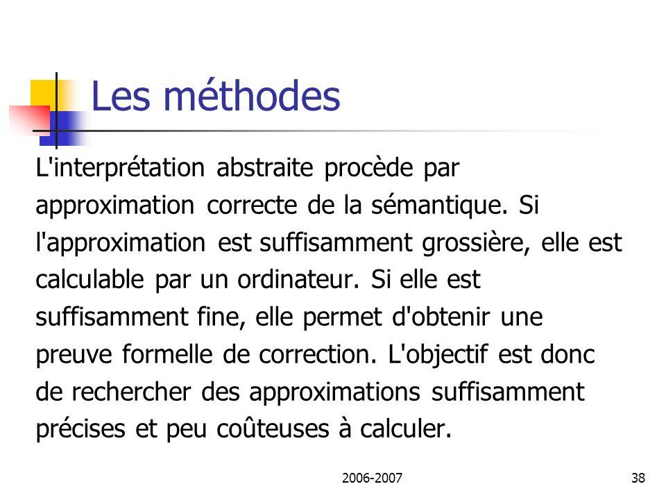 2006-200739 Les méthodes Avec cette description, il est possible de vérifier statiquement (sans exécution du programme) des propriétés dynamiques, c est-à-dire dépendantes de l exécution (code mort, débordement de tableau, flot de données, etc.).