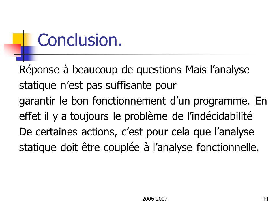 2006-200745 Conclusion.Questions??. Examen: différence boites noires et blanches.