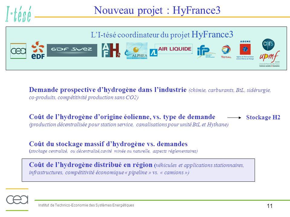 11 Institut de Technico-Economie des Systèmes Energétiques Nouveau projet : HyFrance3 LI-tésé coordinateur du projet HyFrance3 Demande prospective dhy