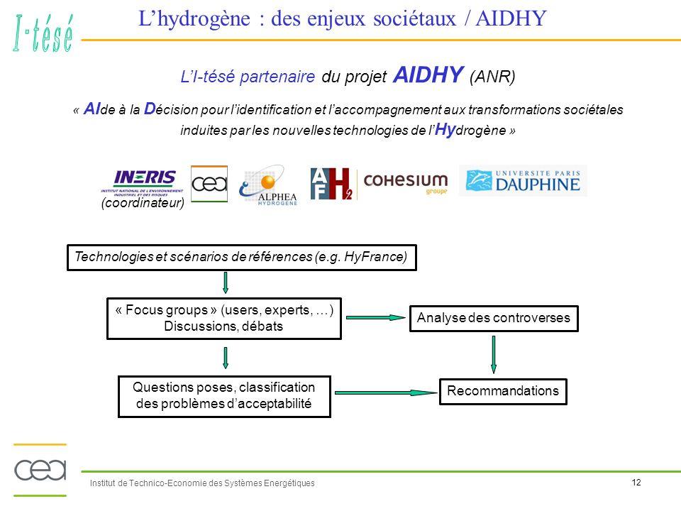 12 Institut de Technico-Economie des Systèmes Energétiques Lhydrogène : des enjeux sociétaux / AIDHY LI-tésé partenaire du projet AIDHY (ANR) « AI de