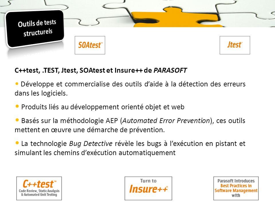 C++test,.TEST, Jtest, SOAtest et Insure++ de PARASOFT Développe et commercialise des outils daide à la détection des erreurs dans les logiciels. Produ