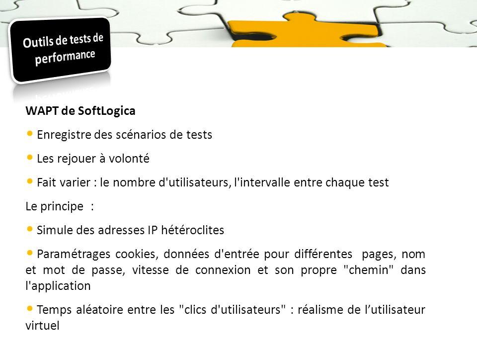 WAPT de SoftLogica Enregistre des scénarios de tests Les rejouer à volonté Fait varier : le nombre d'utilisateurs, l'intervalle entre chaque test Le p