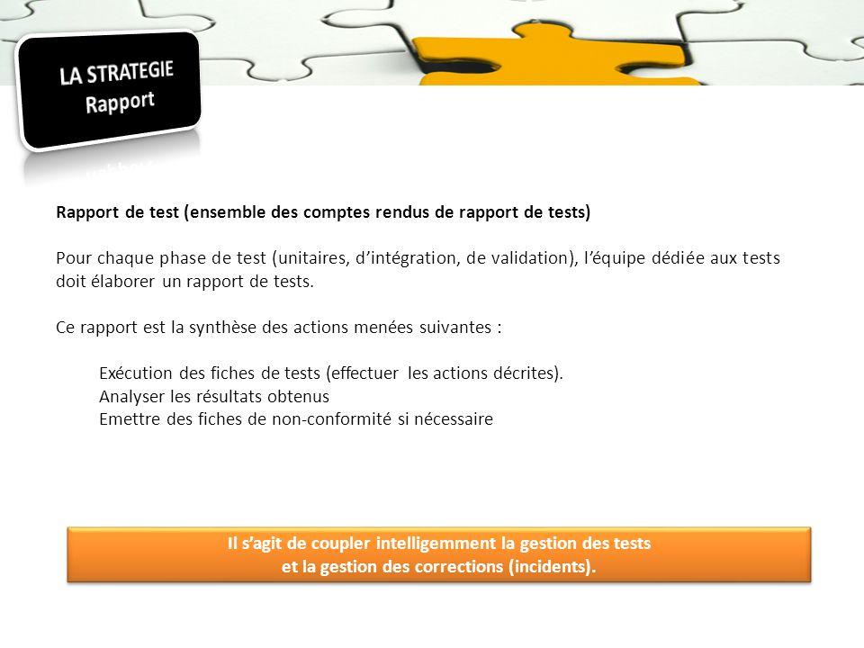 Rapport de test (ensemble des comptes rendus de rapport de tests) Pour chaque phase de test (unitaires, dintégration, de validation), léquipe dédiée a