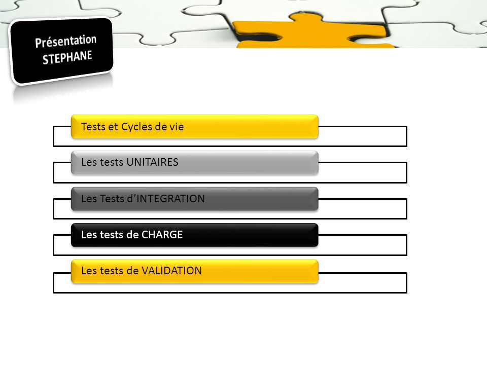 Tests et Cycles de vie Les tests UNITAIRESLes Tests dINTEGRATIONLes tests de CHARGELes tests de VALIDATION