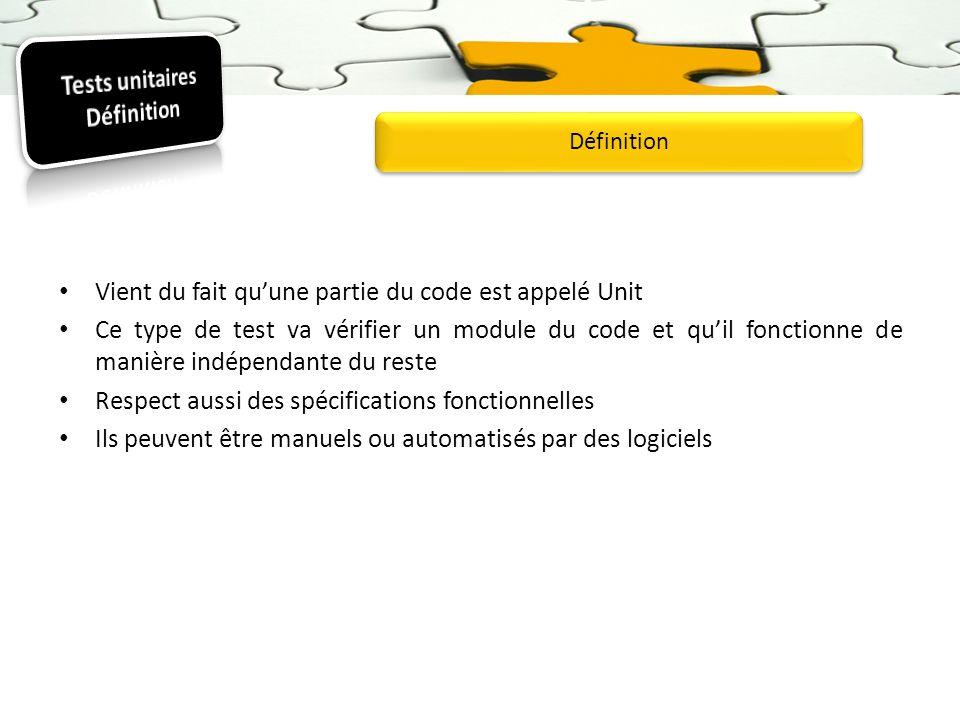 Vient du fait quune partie du code est appelé Unit Ce type de test va vérifier un module du code et quil fonctionne de manière indépendante du reste R