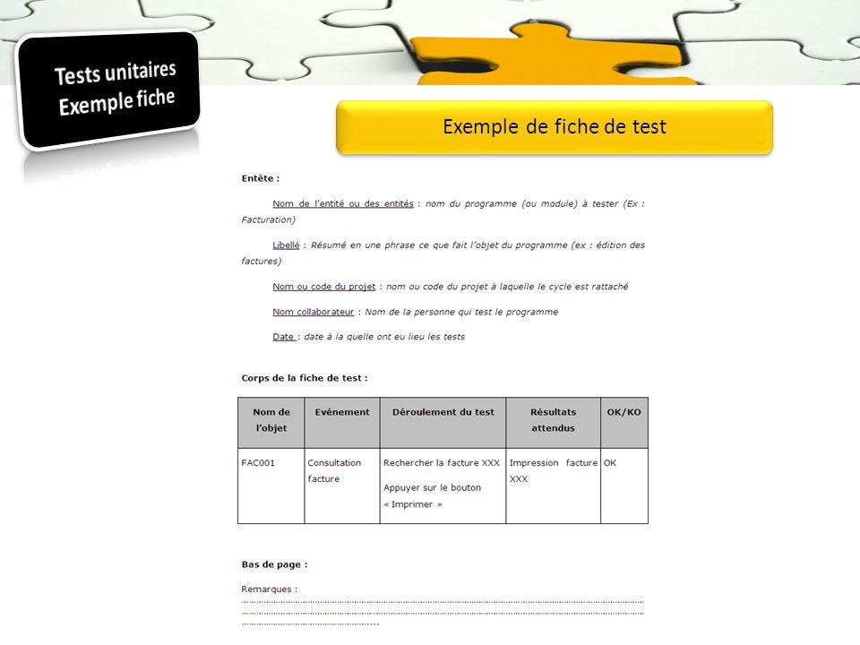 Exemple de fiche de test
