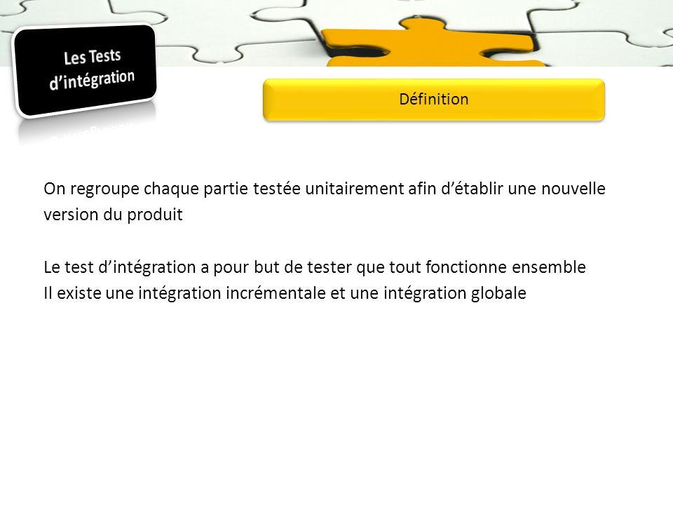 On regroupe chaque partie testée unitairement afin détablir une nouvelle version du produit Le test dintégration a pour but de tester que tout fonctio
