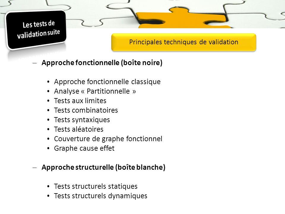 – Approche fonctionnelle (boîte noire) Approche fonctionnelle classique Analyse « Partitionnelle » Tests aux limites Tests combinatoires Tests syntaxi