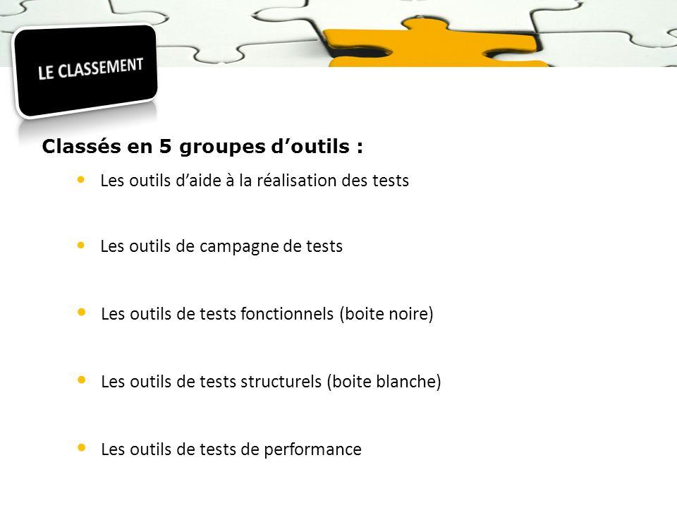 Classés en 5 groupes doutils : Les outils daide à la réalisation des tests Les outils de campagne de tests Les outils de tests fonctionnels (boite noi