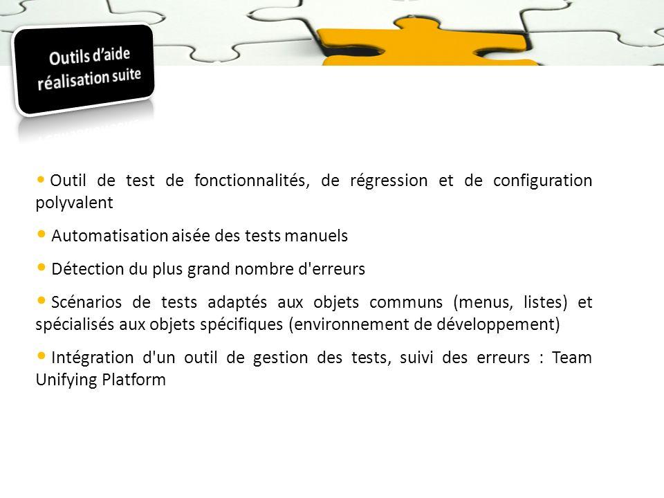 Outil de test de fonctionnalités, de régression et de configuration polyvalent Automatisation aisée des tests manuels Détection du plus grand nombre d
