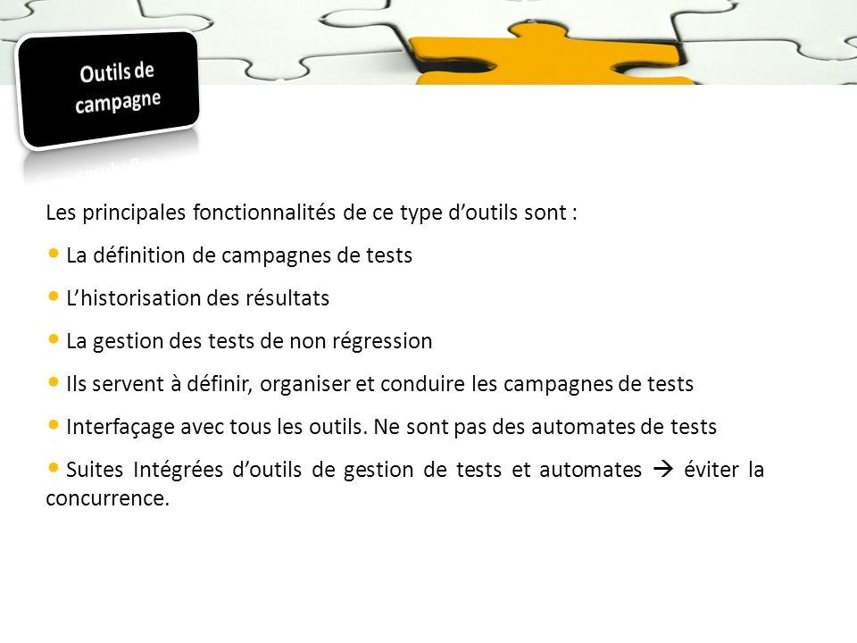Les principales fonctionnalités de ce type doutils sont : La définition de campagnes de tests Lhistorisation des résultats La gestion des tests de non
