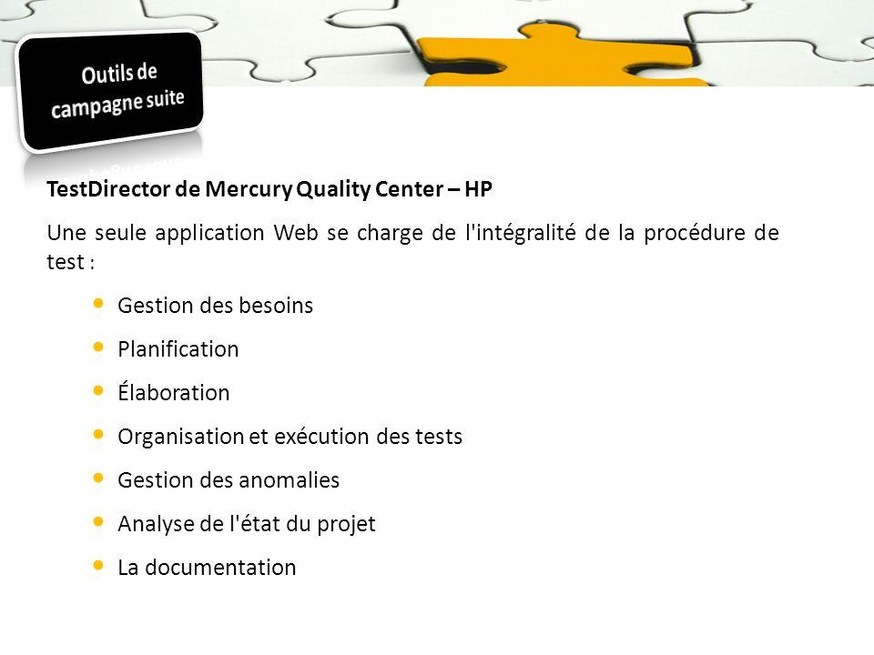 TestDirector de Mercury Quality Center – HP Une seule application Web se charge de l'intégralité de la procédure de test : Gestion des besoins Planifi