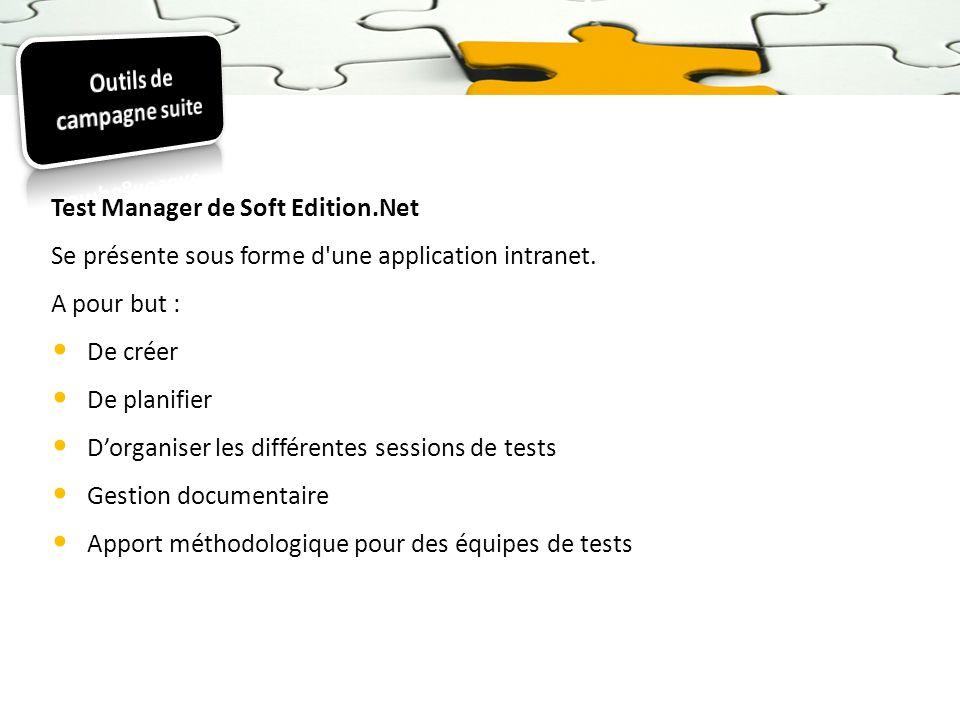 Test Manager de Soft Edition.Net Se présente sous forme d'une application intranet. A pour but : De créer De planifier Dorganiser les différentes sess